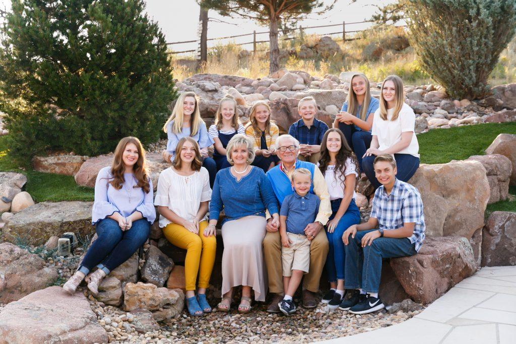 Extended family photoshoot grandparents with grandkids Denver CO